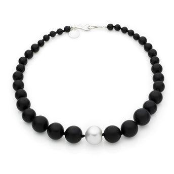 SILVER SOUTH SEA PEARL & ONYX KELLY NECKLACE