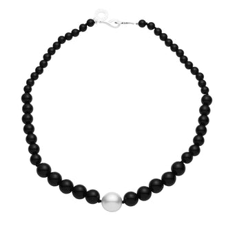 SILVER SOUTH SEA PEARL & ONYX MINI KELLY NECKLACE