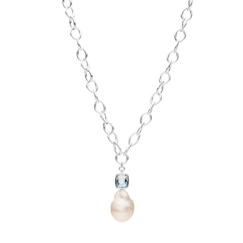 LTD EDITION SILVER BAROQUE SOUTH SEA PEARL & AQUAMARINE NECKLACE