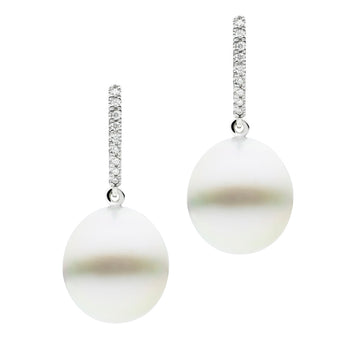 18CT SOUTH SEA PEARL & DIAMOND BIANCA EARRINGS