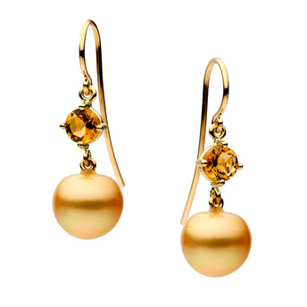 LTD EDITION 18CT CITRINE & GOLD SOUTH SEA PEARL SALSA EARRINGS
