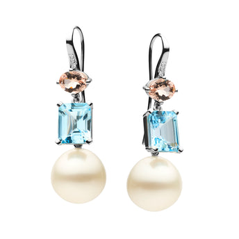 18CT SOUTH SEA PEARL, DIAMOND, MORGANITE & TOPAZ DETACHABLE ISADORA EARRINGS