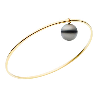 9CT TAHITIAN PEARL CHARM BANGLE