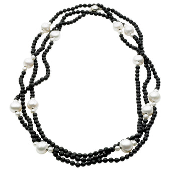 STERLING SILVER ONYX AND FWP GINA FLAPPER