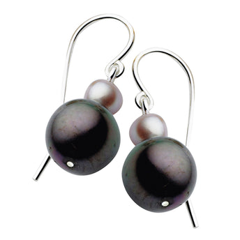 STG SILVER PEACOCK AND PINK PEARL OAKVILLE EARRINGS