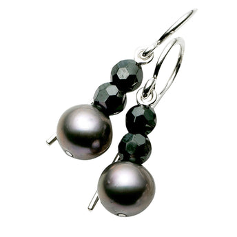 STG SILVER GREY PEARL AND HAEMATITE LAUDERDALE EARRINGS