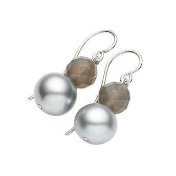 STG SILVER & GREY AGATE EARRINGS