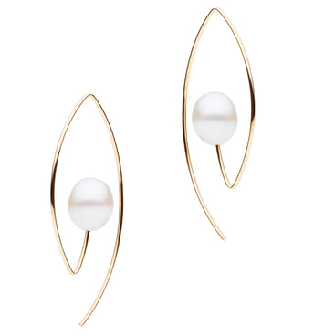 9CT GOLD & PEARL GATTACA EARRINGS