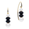 9CT PEARL & ONYX AVA EARRINGS