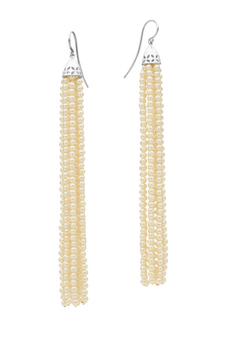 STG SILVER PEARL GATSBY (10.5CM) TASSEL EARRINGS