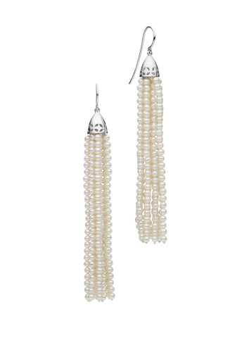 STG SILVER PEARL GATSBY (7.5CM) TASSEL EARRINGS