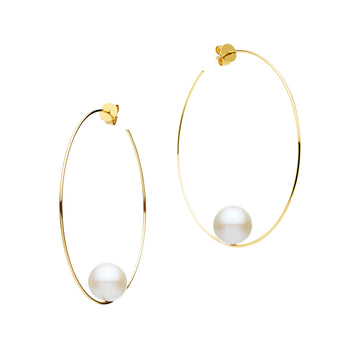 9CT GOLD & PEARL LYDOS FINE HOOP EARRINGS
