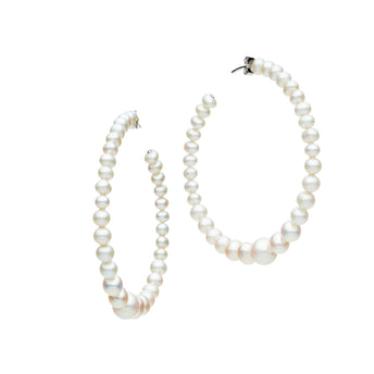 STG SILVER PEARL LYDOS HOOP EARRINGS