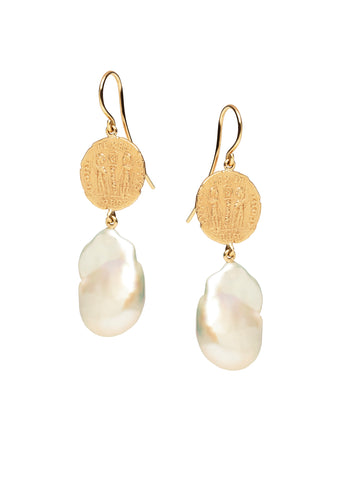 9CT COIN & BAROQUE PEARL MEDICI EARRINGS