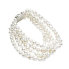 STERLING SILVER PEARL AND CRYSTAL 5 ROW LAUDERDALE BRACELET