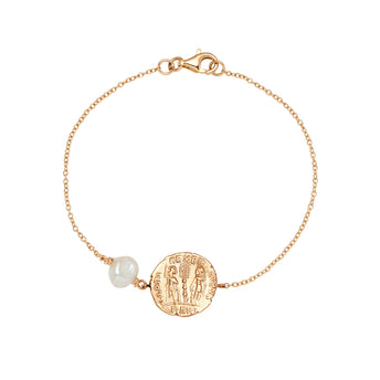 9CT COIN & PEARL MEDICI BRACELET