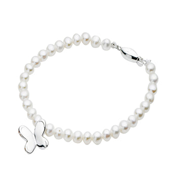 STERLING SILVER WHITE PEARL AND STERLING SILVER BUTTERFLY CHARM BRACELET