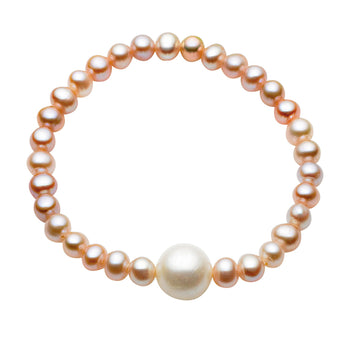 ANNIE PINK PEARL AND SINGLE WHITE PEARL BABY ELASTIC BRACELET