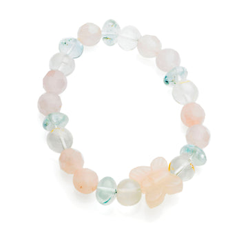 LITTLE GIRLS ROSE QUARTZ, CRYSTAL AND AQUAMARINE BRACELET