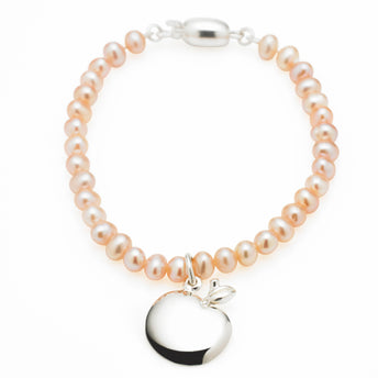 STG SILVER PINK FRESHWATER PEARL APPLE BABY BRACELET