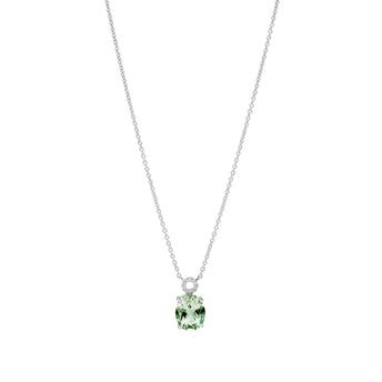 18CT GREEN AMETHYST AND DIAMOND BELLINGEN PENDANT