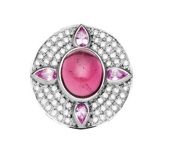 18CT WHITE GOLD CABOCHON PINK TOURMALINE, PINK SAPPHIRE & DIAMOND RING