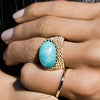 9CT OVAL AMAZONITE GAUDI RING
