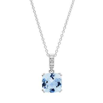 18CT WHITE GOLD AQUAMARINE & DIAMOND KAARINA PENDANT