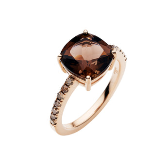 18CT ROSE GOLD SMOKY QUARTZ & CHAMPAGNE DIAMOND KAARINA RING