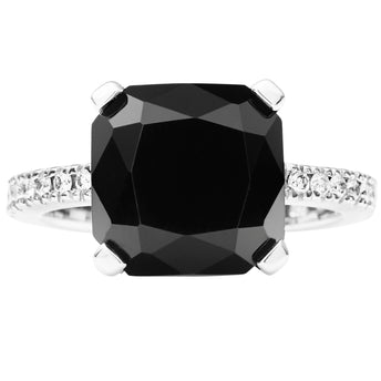 18CT ONYX & DIAMOND LA RAMBLA RING