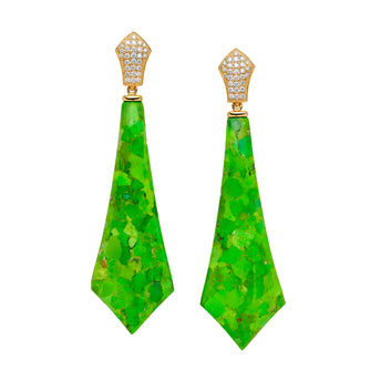 18CT GREEN TURQUOISE & DIAMOND SAMOS EARRINGS (LIMITED EDITION)