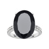 18CT WHITE GOLD ONYX & DIAMOND BIANCA RING