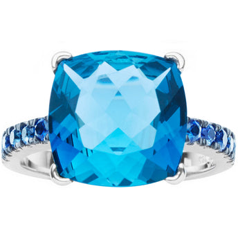 18CT WHITE GOLD LONDON BLUE TOPAZ & SAPPHIRE TIVOLI RING