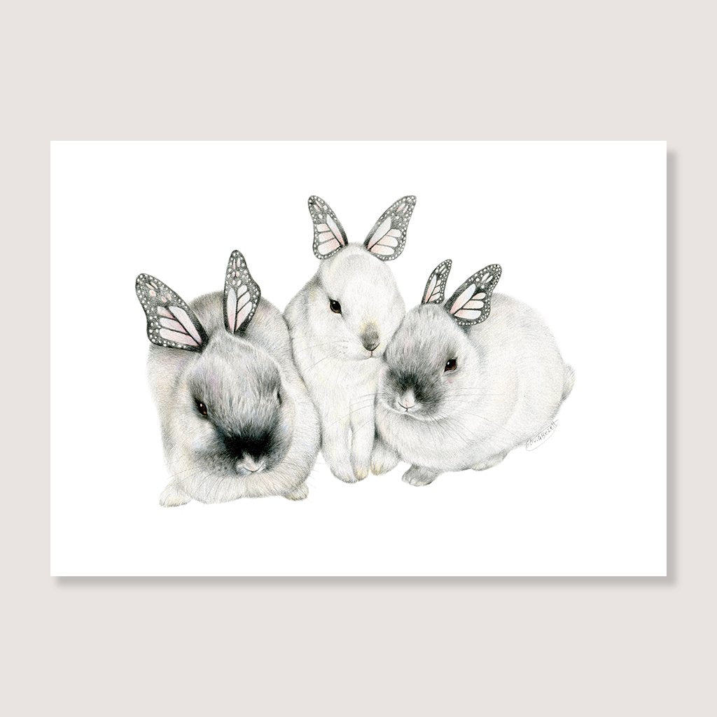 SALE print Butterfly Bunny Family