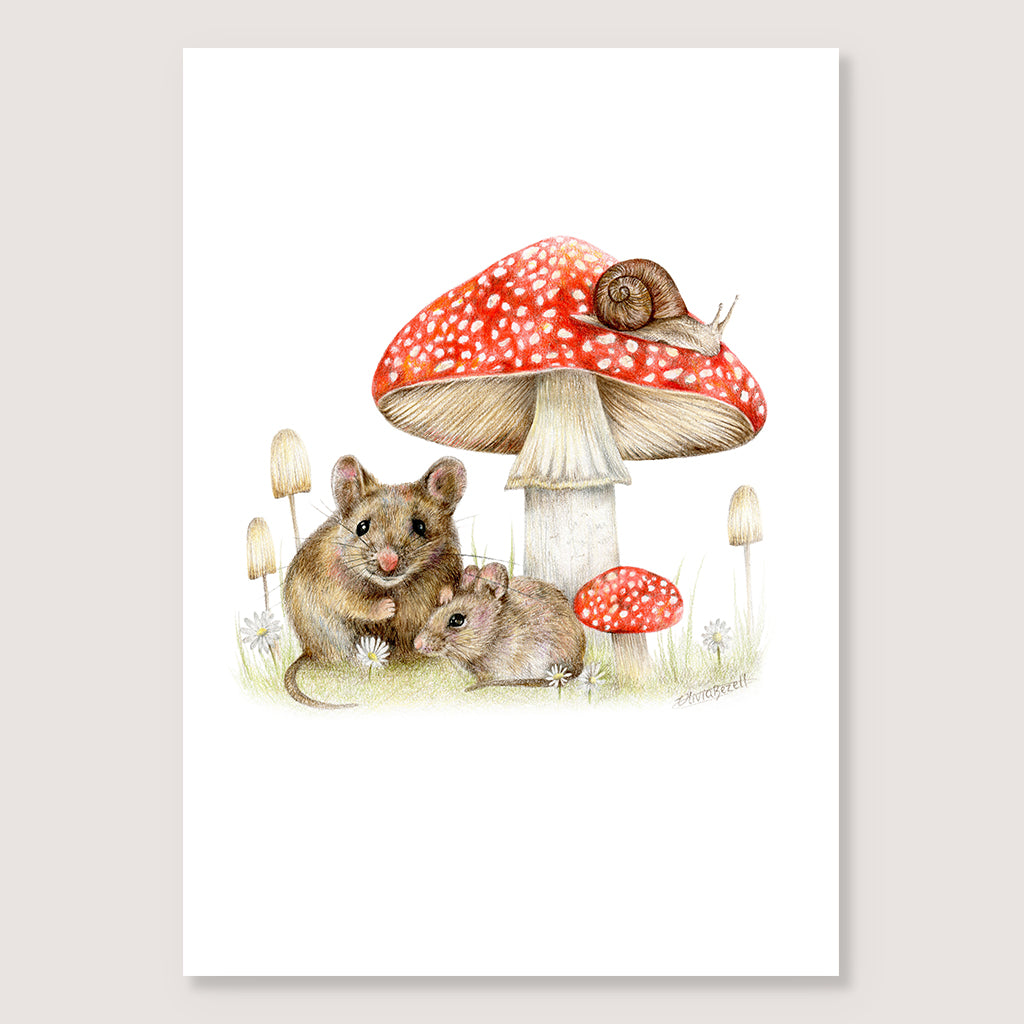 Mice In The Woods Print
