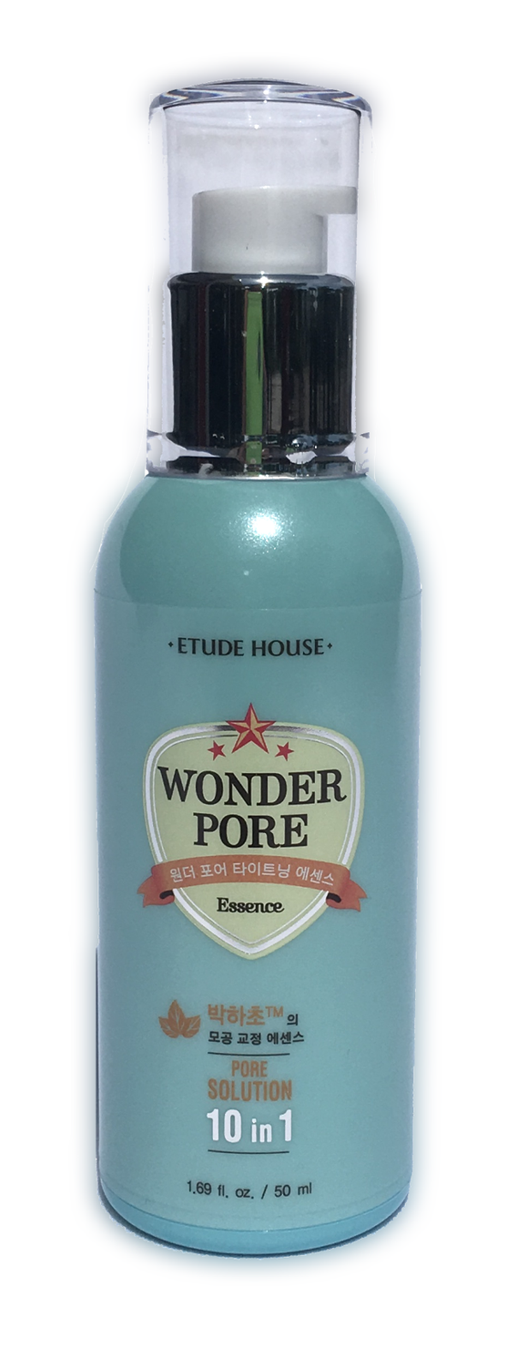 Etude House Wonder Pore Essence Solution 10 in 1 - 50ml Moisturizing toner that balances pH of the skin, making softer and smoother.  Cleans excess oil and debris from your pores and tightening them with its cool and refreshing formula.  Made of menthe herb and vinegar that cleanses and protects skin from particulate matters.  Made with no Paraben, Mineral Oil, Animal Nutrients, Artificial Color