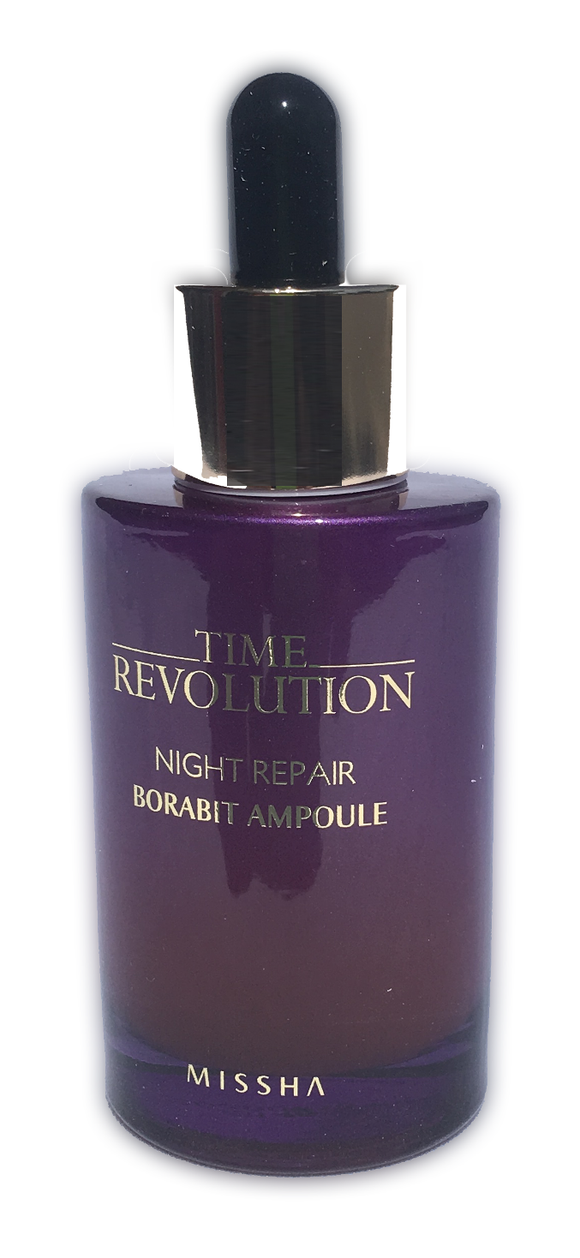 Missha Time Revolution Night Repair Borabit Ampoule - 50ml Use the ampoule as part of your night routine to get smith, firm and healthy skin.  Provides extra nutrients, moisture and protection from your basic skin care.  Missha's top products, this has been widely tried and tested to give the skin a dewy, supple and clear complexion.  Made with Bifida Lysate, a fermented yeast that visibly reduces signs of aging and improves skin elasticity.  Powerful but gentle for those with sensitive and acne prone skin.