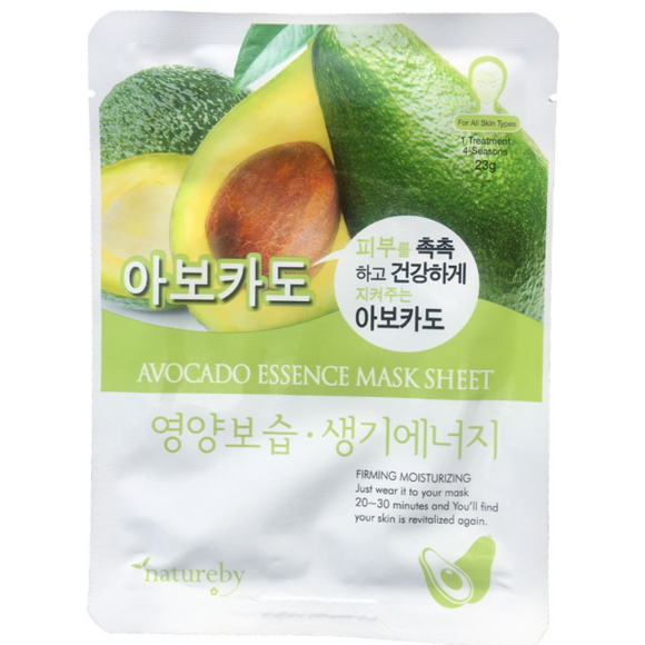 Natureby Avocado Essence sheet mask delivers rich moisture to dry skin, improving skin elasticity and reducing wrinkles and fine lines. Avocado is perfect in your anti-aging treatments as it works to hydrate and moisture your skin to look and feel smooth and plump.