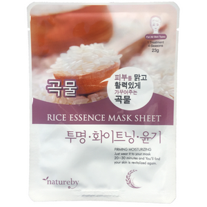 Natureby Rice Essence sheet mask acts as a natural skin toner, promoting cell growth and even skin tone. The stimulation of blood flow heals scarring and spots by cooling the redness of an acne outbreak. Rice essence minimizes the appearance of pores and tighten skin assist in anti-aging benefits.