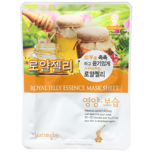 Natureby Royal Jelly Essence sheet mask supports skin renewal and increased collagen production which fills up wrinkled skin. Royal Jelly increases skin hydration will tighten pores creating firmer, glowing skin.