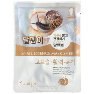 Natureby Snail Essence sheet mask targets hydration of the skin and fading of acne scarring and dark spots. Snail essence stimulates the production of collagen helping to remedy the signs of aging and wrinkles.
