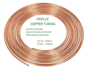 "Saville 1/4"" x 25ft (7.62mtrs) Easy Flare Copper Brake pipe Qualtiy"