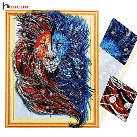 HUACAN Special Shaped Diamond Painting Lion Picture of Rhinestones 5D DIY Diamond Mosaic Animal Home Decor 40x50cm