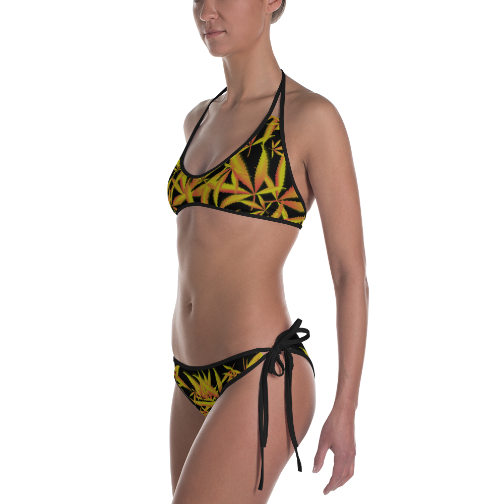 Red, Yellow & Black Leaf Bikini