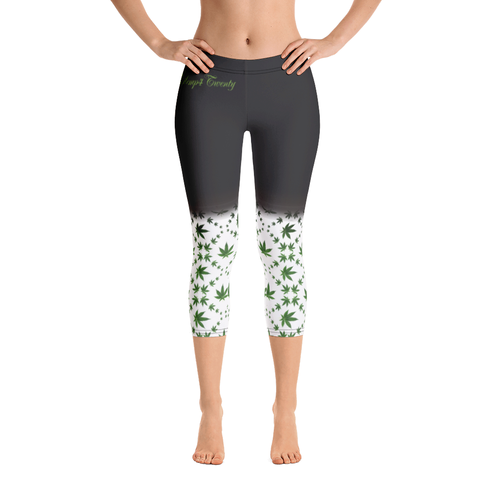 Black, Green and White Capri Leggings