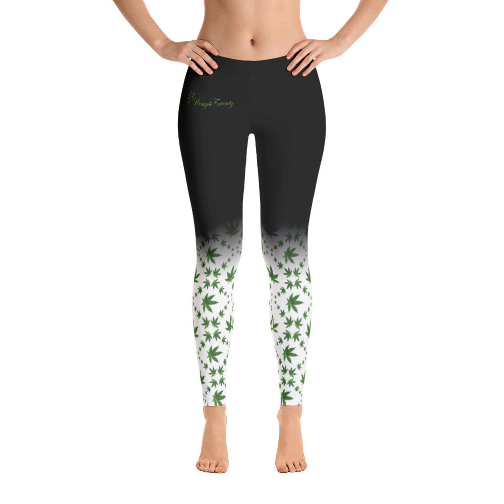 Women's Leggings - Green, White & Black