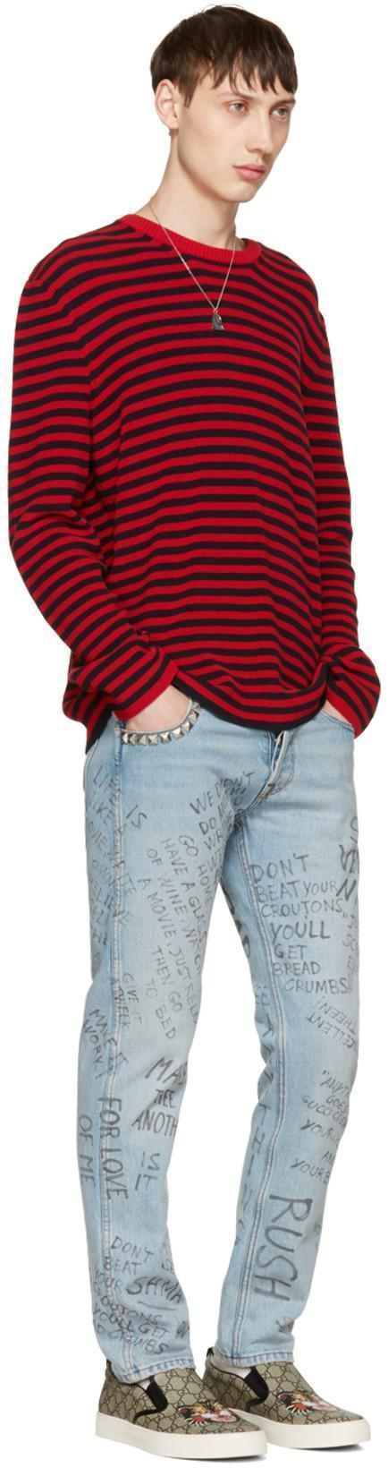 GUCCI Scribbled Writing Print Punk jeans