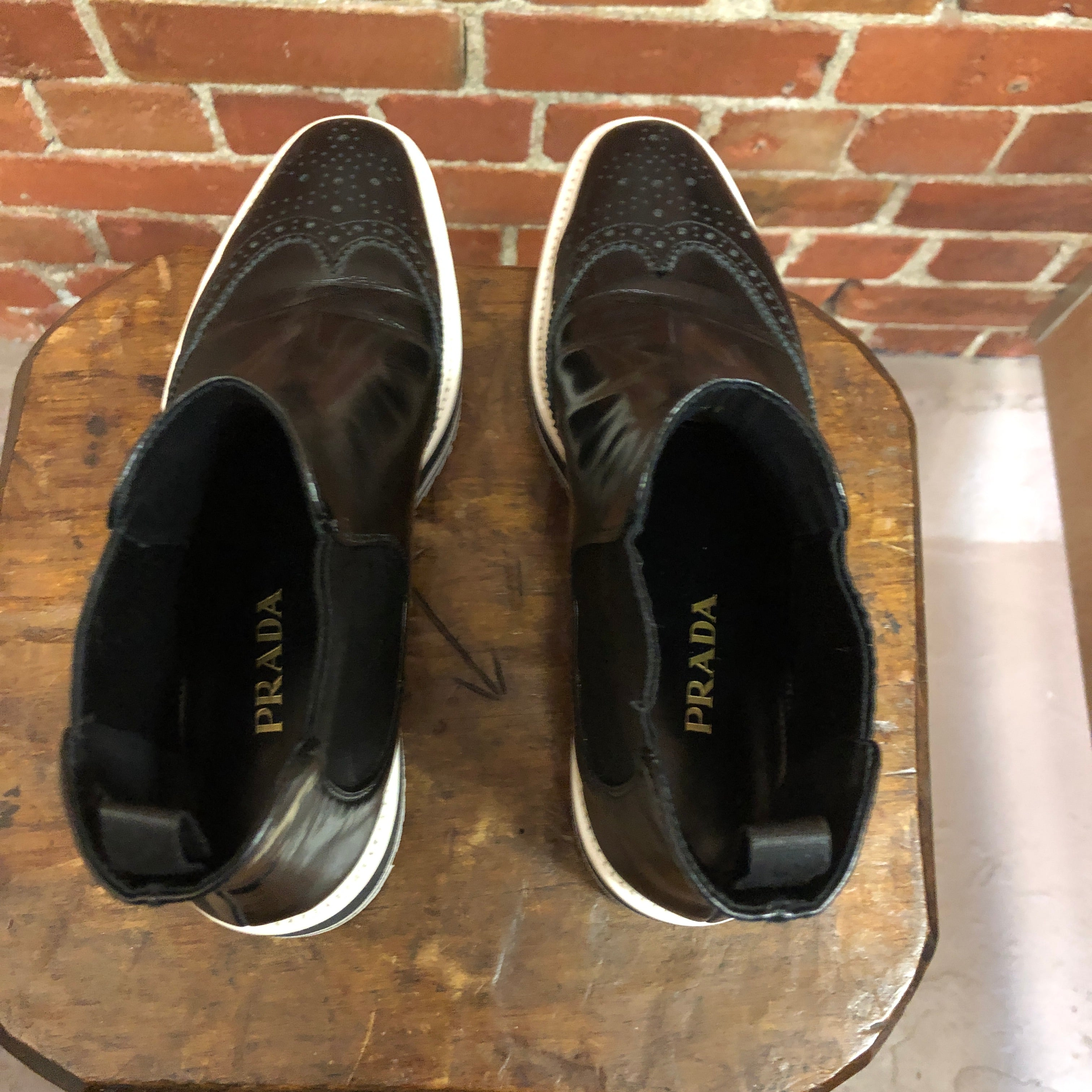 PRADA leather sneaker boots 37