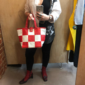 COMME DES GARCONS checked vinyl shopper bag