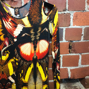 GAULTIER BUTTERFLY WING PRINT SEXY DRESS